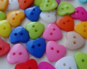 25 Buttons in shape of heart  mix color 2 Holes 13x13mm