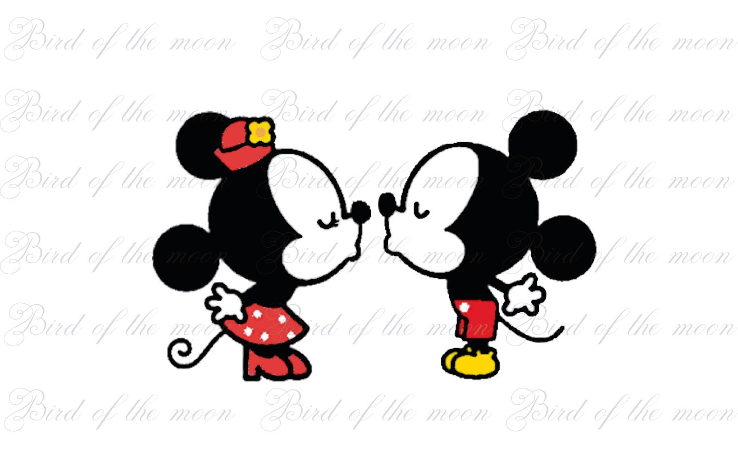 kiss Mickey and Minnie Mouse DIY you print by birdofthemoon