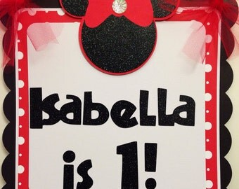 Welcome Sign Minnie Mouse Red Polka dots door sign