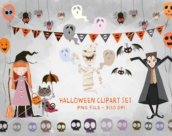 HALLOWEEN Digital Clipart, Halloween Clipart, Instant Download PNG file - 300 dpi