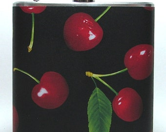 Red Cherries Cherry Print 6 oz Size Stainless Steel Liquor Hip Flask Flasks Gift Idea