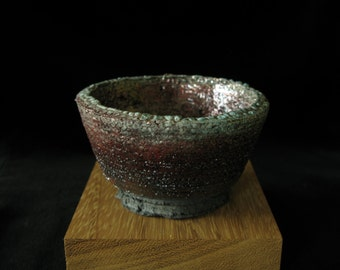 Heavily Grogged Raku Bowl with Blue and Copper Glaze
