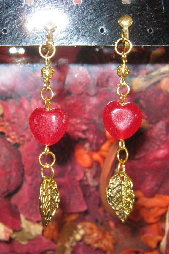 Handmade Gold Clip-On Earrings with Ruby Heart & Leaf by IreneDesign2011