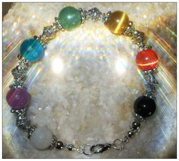 Beautiful Handmade Silver Chakra Bracelet with 7 Gemstones by IreneDesign2011
