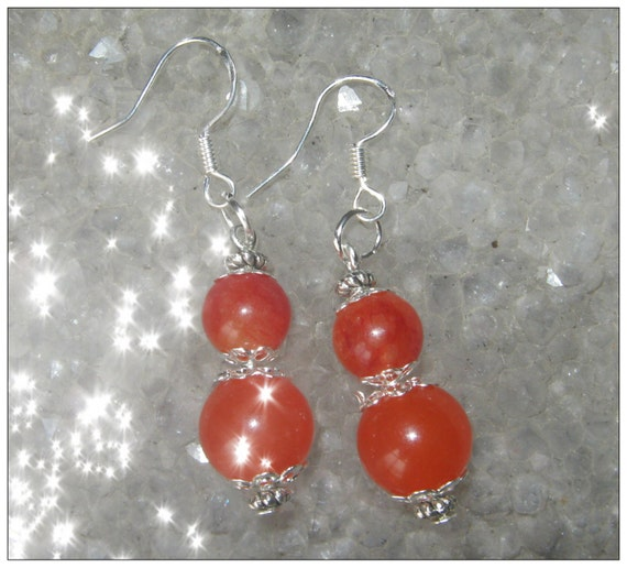 Handmade Silver hook Earrings with Orange Topaz