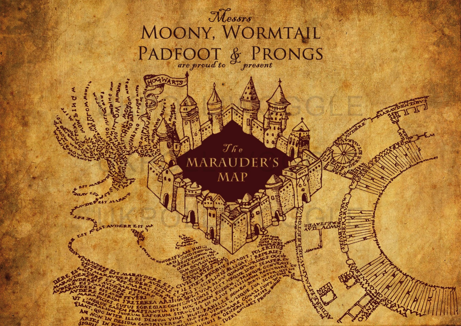 Old Fashioned image throughout printable marauders map