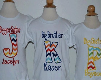 Personalized Big Little Brother Big Little Sister Initial Applique Shirt or Onesie Girl or Boy