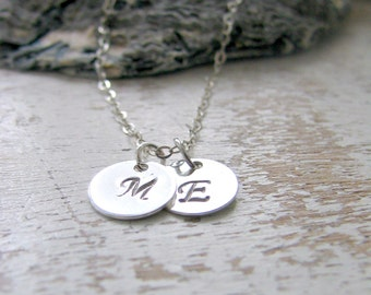925 sterling silver Initial Necklace Personalized necklace monogram Initials monogram necklace custom hand stamped letters letter necklace