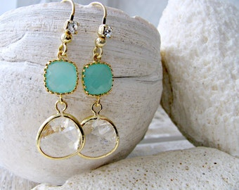 Mint Earrings with Crystal stones Rhinestone Ear Wires Beach Wedding April Birthstone Mint Jewelry bridesmaids earring sets Crystal Jewelry