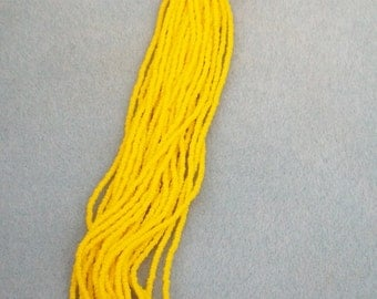 Yellow seed bead size 11 Matte  Dark yellow seed beads Hank of beads