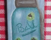Original, Hand painted, Domino, Ball Mason Jar, OFG, FAAP, Acrylic, Gift, Magnet, Small, Blue, Fireflies,