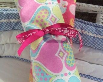 Pink Elephant Love,set of 2 Flannel Blankets SALE