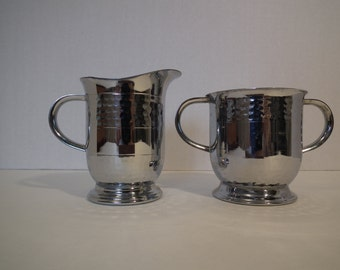 Chrome plated stainless steel cream and sugar set