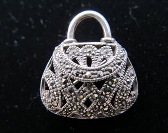 Marcasite & Sterling Handbag Brooch Item W-#307