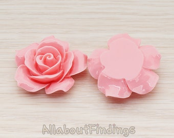 CBC157-07-RP // Rose Pink Colored 35mm Angelique Rose Flower Flat Back Cabochon, 2 Pc