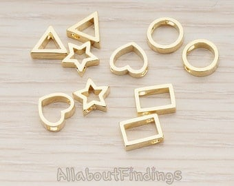BDS030-G // Glossy Gold Plated Rectangle or Heart or Star or Circle Metal Bead, 2 Pc