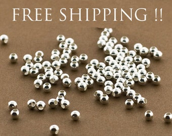 100 Sterling Silver 3mm Round Seamless Smooth Beads