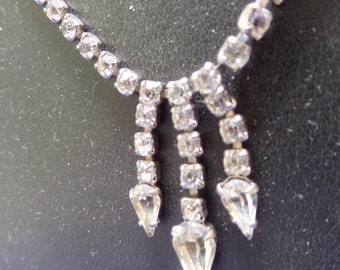 "Vintage Rhinestone necklace with 3 short dangles, as shown.   The chain is 14"" long.  FREE ship US."