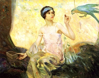 "Reid Robert Lewis, Tempting Sweets, Woman, Bird, Macaw 11x14"" Cotton Canvas Print"