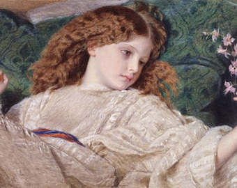 "11x14"" Cotton Canvas Print, Dreams, c. 1861, Sir Frederick William Burton, Young Girl Daydreaming"