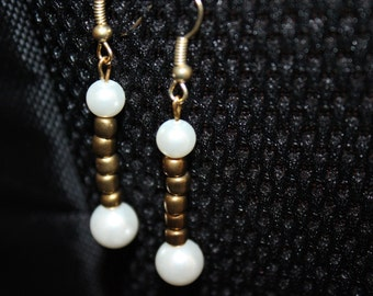 White Pearl and Brown Beaded Dangle Earrings