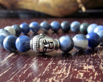 Sodalite and Buddha Bracelet for Women or Men, Natural Gemstone Bracelet, Stacking Bracelet, Yoga Bracelet, Yoga Jewelry, Mala Bracelet