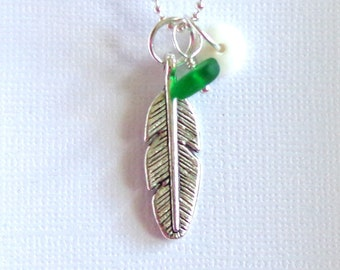 Green Seaglass Feather Pendant
