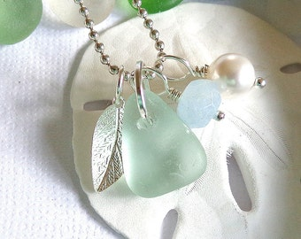 Leaf Sea Glass Necklace Happy New Year
