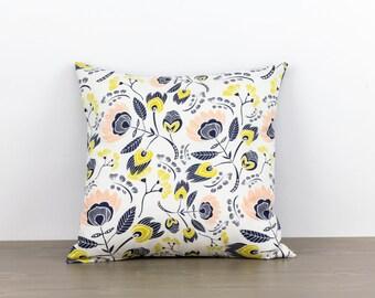 """Pillow cover--16""""x16""""--floral, blue, pink, yellow, modern, handmade, accent pillow, throw pillow"""