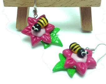 Flower Earrings, Handmade Earrings, Clay Jewelry, Clay Jewellery, Gifts for Her, Cute Earrings, Kawaii Gift, Cute Jewelry