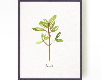 Basil watercolor painting, Kitchen art, Herb print, Botanical art, Green Culinary art, Dinning room decor, Apartment decor, Buy 2 Get 1 Free