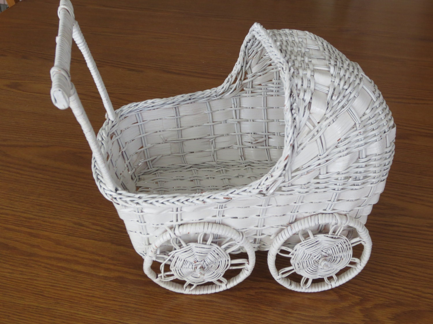 Vintage White Wicker Baby Carriage Shaped Basket Baby Buggy