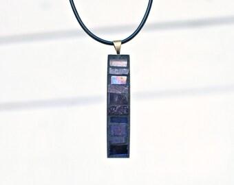 Long Mosaic Pendant, Purple Necklace, Ombre Necklace, Unique Gifts for Women