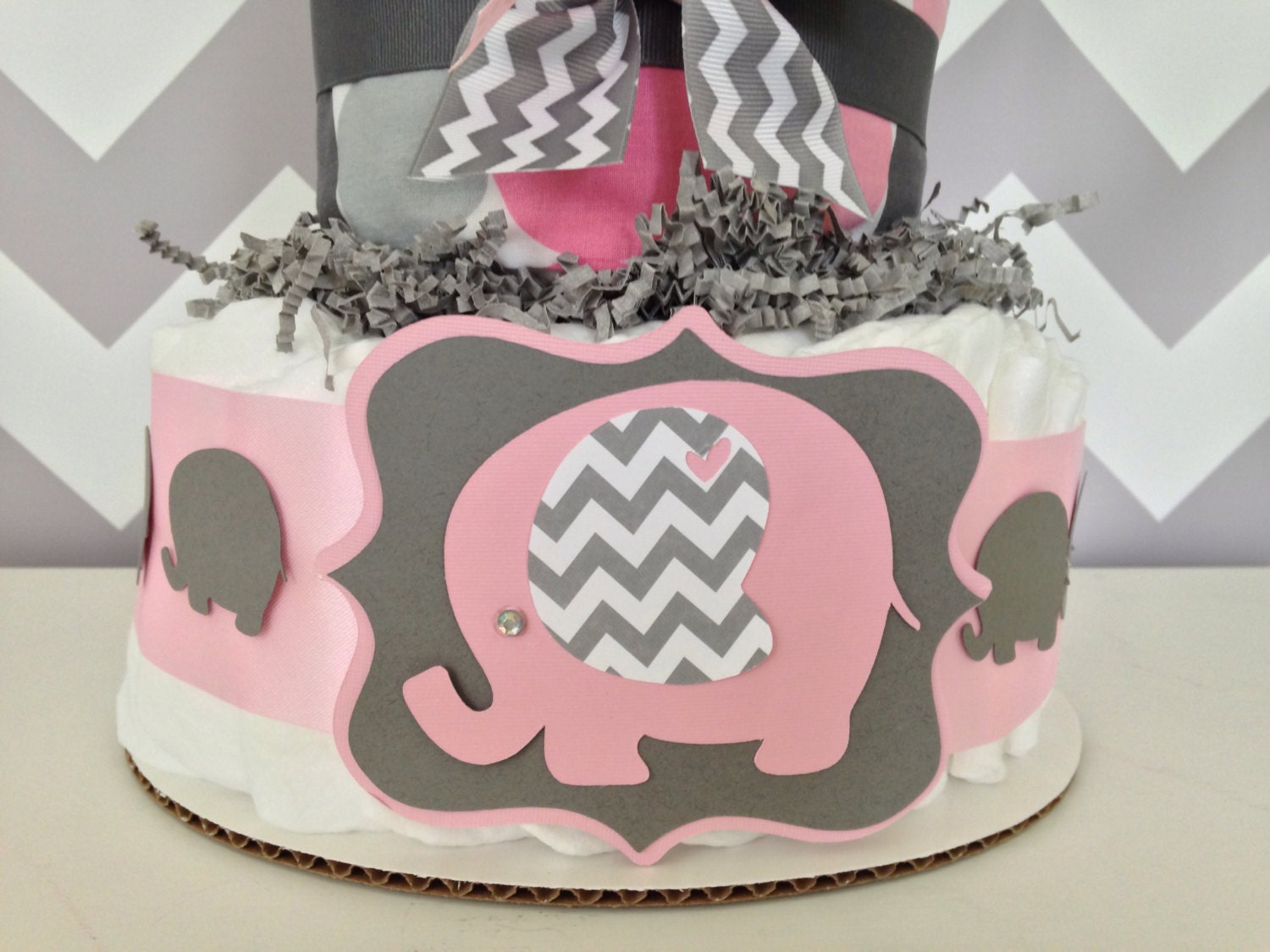 Chevron elephant baby shower diaper cake pink and gray - Baby shower chevron decorations ...
