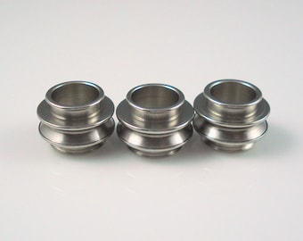 Stainless Steel Beads, 8MM Hole Deep Ribbed Bead for Leather or Cord, THREE Pieces  (SSB4)