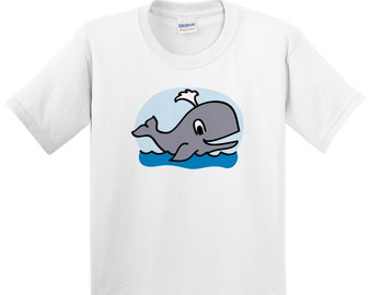 Children's Whale T Shirt Kids Boys or Girls Animals Tee