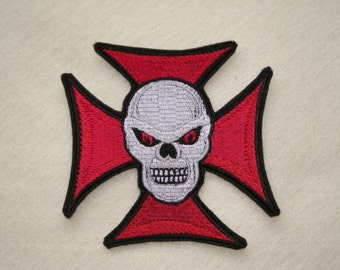 """Skull and Cross, Maltese Cross and Skull, Iron on Patch, Large 5"""" x 4 3/4"""", Biker, Motorcycle,Tattoo, 100% Embroidered Patch"""