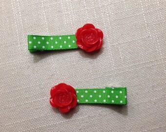 Christmas Polka Dot & Resin Rose Clip Set of 2