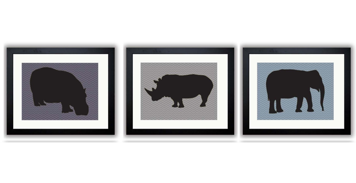 African Safari Animals Art Prints Black Grey Gray Chevron Set of 3 Hippo Elephant Rhino Boy Art Nurs