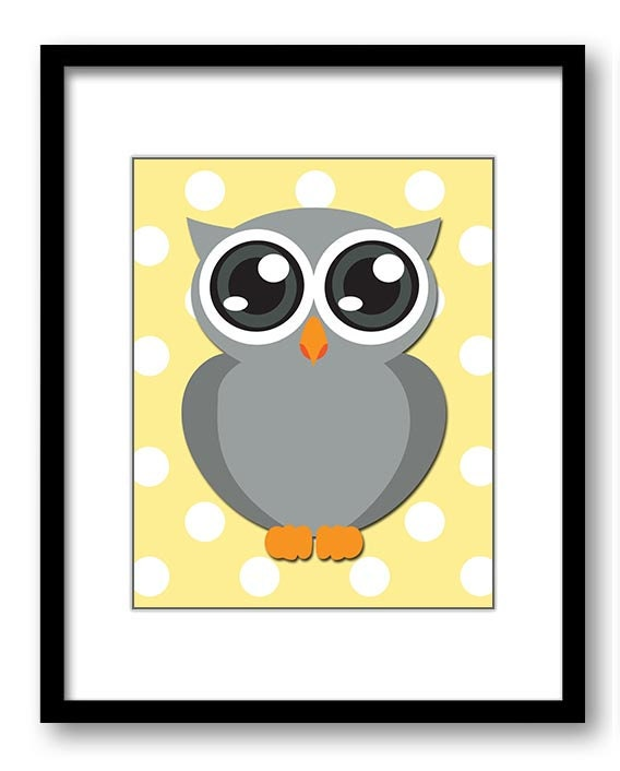 Owl Nursery Art Nursery Print Grey Owl Yellow Polka Dots Baby Art Baby Animal Pink Print Child Kids