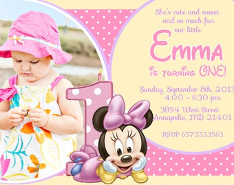 Minnie Mouse First Birthday Party Invitation - Digital File
