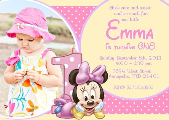 Popolare Articoli simili a Minnie Mouse primo compleanno festa invito  KB57