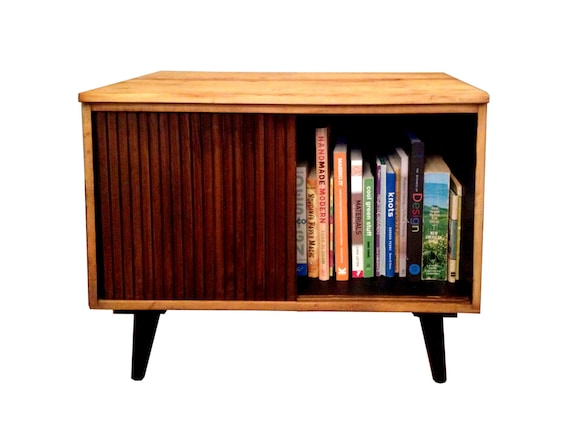 Record Player And Record Storage Table Night Stand Bookshelf