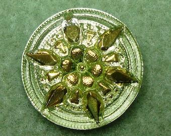 Czech Glass Button 27mm - hand painted - lime green, gold, uranium/vaseline glass (B27136)