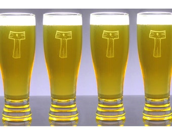 6 Monogram Engraved 16 oz Pub Beer Glasses - Pilsner - Personalized