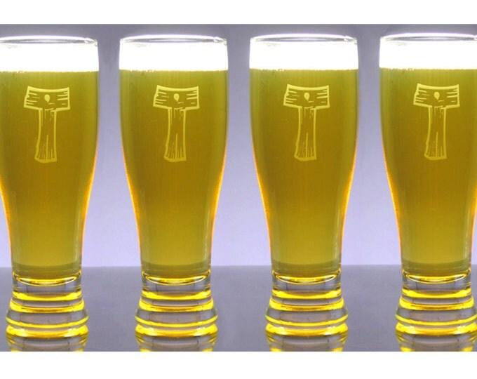 6 Monogram Engraved 16 oz Pub Beer Glasses - Pilsner - Personalized