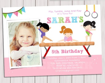 Gymnastic Birthday Party Photo Invitation, Printable GYMNASTIC invitation, Gymnastic Invite, Gymnastic Party, DIY PDF, Photo invite