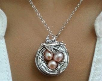 Fresh Water Peach Pearls Sperrow Bird Nest Necklace