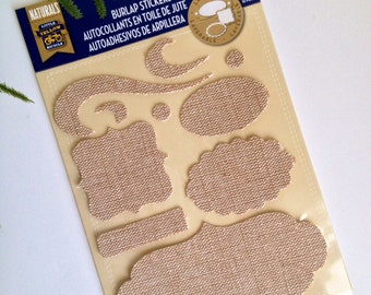 HALF OFF! NOW 1.75! Burlap Stickers Shapes and Flourishes