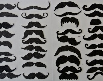 Mustache on a stick Photo Booth Party Props Mustaches Black and Brown 38 Pieces all different Material Glitter Foamy Fathers day